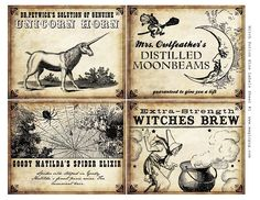 Witch Wine Labels 4x5 digital collage sheet for potions Halloween dinner parties. $6.00, via Etsy.