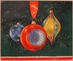 #1577 50s Glittered Tree Ornaments-Vintage Christmas Greeting Card