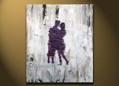 Bedroom Art, Anniversary Gift, Romantic Lover Original Painting, Fine Art Contemporary purple silver gray heavy texture canvas. $118.00, via Etsy.