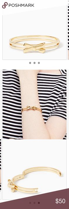 "Kate Spade DOUBLE BOW Gold Plated Bangle Bracelet Brand new with tag and pouch Authentic Fast shipping DETAILS MATERIAL *12-karat gold plated metal FEATURES *hinged bangle 🙋🏻accepting reasonable offer DETAILS *2.25""h x 2.1""w *weight: 22.8 g *imported * kate spade Jewelry Bracelets"
