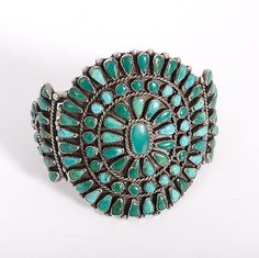 Zuni Turquoise Cluster Bracelet (8/31/2013 - American Indian:Timed Online Auction)