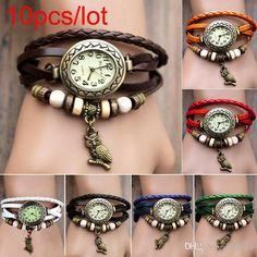 Wholesale Watch Pendant Bracelet - Buy Women Leather Wrist Watch Charm Bracelet Retro Vintage Owl Pendant Weave Wrap Quartz 19429, $2.04   DHgate.com