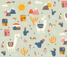 Lamas, mountains and cactus fabric by Petite Circus on Spoonflower. Very cute! Warm yellow and navy are lovely together.