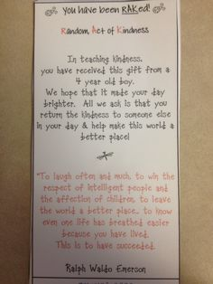 Cute ideas for random acts of kindness with kids