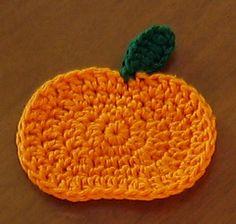 Ravelry: Pumpkin Coaster pattern by Tandy Imhoff Designs Crochet Pumpkin Pattern, Pumpkin Applique, Crochet Coaster Pattern, Halloween Crochet Patterns, Crochet Motif, Free Crochet, Thanksgiving Crochet, Crochet Fall, Holiday Crochet