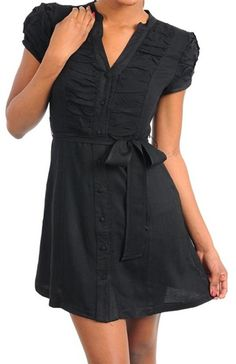 This classy black shirt dress is lightweight and shirt button closure and tie at waist. Fabric is poly/rayon/spandex. Free ship in the U.S.A.