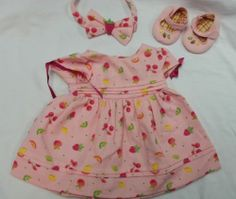 New American Girl Bitty Baby's Strawberry Birthday Dress Full Set Bitty Baby, Birthday Dresses, Full Set, Girl Dolls, Babys, American Girl, Strawberry, Summer Dresses, Clothes
