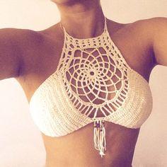 Dreamcather Halter Crochet Top (140 AED) ❤ liked on Polyvore featuring swimwear, bikinis, bikini tops, black, women's clothing, triangle bikini swimwear, triangle bikini, crochet bikini top, halter tankini and bandeau halter bikini