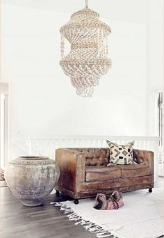 Boho Home :: Beach Boho Chic :: Living Space Dream Home :: Interior + Outdoor :: Decor + Design :: Free your Wild :: See more Bohemian Home Style Inspiration Room Inspiration, Interior Inspiration, Design Inspiration, Design Ideas, Interior Bohemio, Ethno Design, Shell Chandelier, Beaded Chandelier, Chandeliers