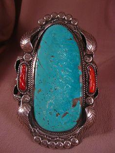 Vintage Navajo Turquoise, coral and sterling bracelet