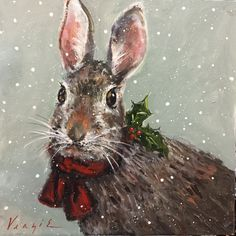 The Christmas Duck with Ribbon is a giclee print on fine art paper, from my original painting. The Christmas Duck with Ribbon is mounted on a cradled board support. Christmas Bunny, Christmas Animals, Christmas Art, Etsy Christmas, Xmas, Watercolor Christmas Cards, Rabbit Art, Bunny Art, Christmas Paintings