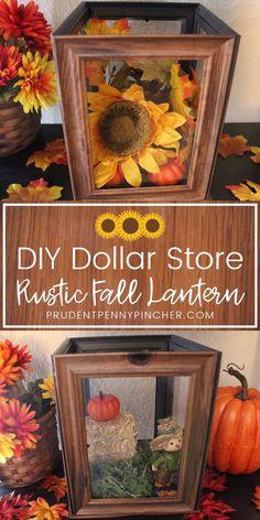DIY Dollar Store Rustic Fall Lantern #fall #falldecor #falldecorations #diyfalldecor #dollarstore #dollartree #fallcrafts #crafts #diy #rustic #rustic #rusticfalldecor