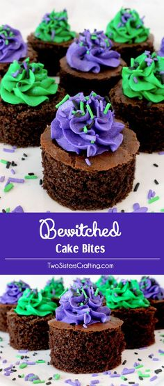 Bewitched Cake Bites - fun and delicious mini cakes with pretty purple and green Halloween colored frosting. A great Halloween dessert idea and a unique take on a Halloween cupcake. Super easy to make, they will be a great Halloween treat for this year's party. Follow us for more Halloween Food ideas.