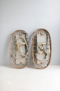 vintage wood snowshoes.