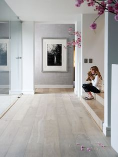 Love this flooring - wide plank and kind of bleached look, goes well w/grey.