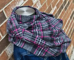 Cozy Flannel Infinity Scarf-Pink & Grey Plaid