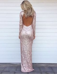 Vianla Stunning Long Sleeve Sequins Prom Dresses 2016 Open Back Hi-Lo Evening Gowns