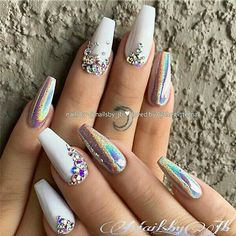 White Holo-Effect and Crystals on Coffin Nails Nail Design by Glue On Nails, Gel Nails, Nail Polish, Coffin Nails, Nail Nail, White Acrylic Nails, Best Acrylic Nails, Blue Nail, White Nail Art