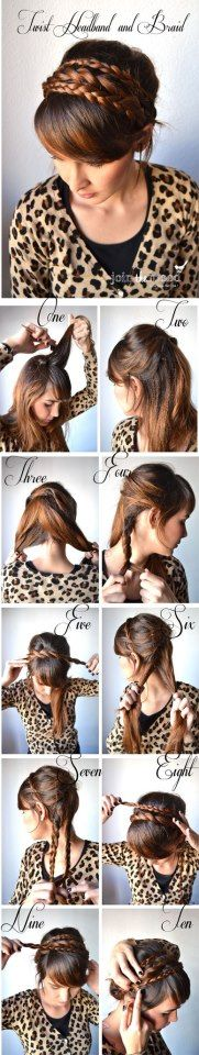 .Twist headband braid ~ DIY Everyday Hairstyles School Step by step ~ I love it:)