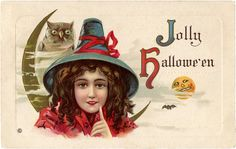 A very jolly Halloween wish to you! #vintage #Halloween #cards #postcards #witches