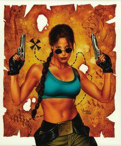 joe jusko - pittsburgh comic con program cover, featuring lara croft, tomb raider 2000