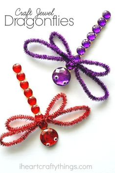 This shimmery dragonfly craft for kids is absolutely gorgeous using craft jewels and glitter sticks. It's a perfect summer kids craft.