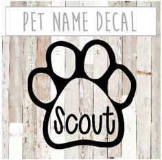 30% off ENTIRE Etsy shop!  Use code GRANDOPENING15   Pet Name Decal - Choose your color!    This is a Vinyl Decal with your choice of color. Perfect for your car, water bottle, or other indoor and