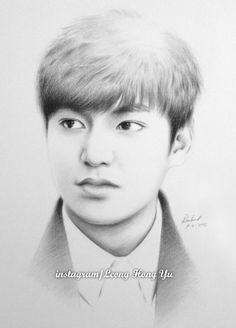 by Hong-Yu on DeviantArt Chalk Drawings, Pencil Art Drawings, Realistic Drawings, Easy Drawings, Lee Min Ho Dramas, Beautiful Pencil Drawings, Kpop Drawings, Celebrity Portraits, Bollywood Actors