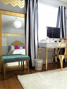 The Wall! Mirror! Bench!! Desk!!! and Drapes! bedroom Makeover