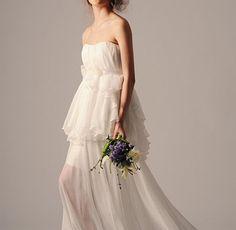 unique non traditional chiffon wedding dress/ by DreamyCustomDress, $456.00