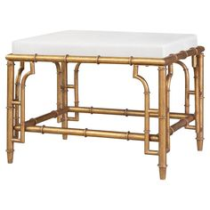 Brigitte Hollywood Regency Antique Gold Bamboo Stool   Kathy Kuo Home