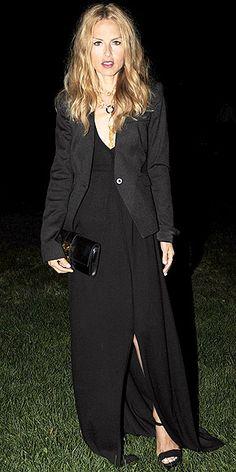 RACHEL ZOE photo | Rachel Zoe black dress w/knee length slit & black tuxedo jacket. If only i were blonde...