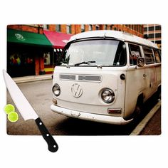 "Kess InHouse Angie Turner ""VW Bus"" White Vintage Cutting Board ("