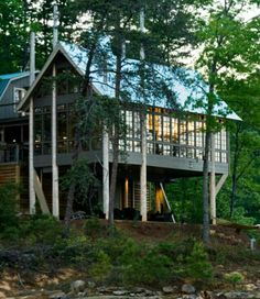 Tubb Lake - modern - exterior - birmingham - by Dungan Nequette Architects Rustic Exterior, Modern Exterior, Lake Cabins, Cabins And Cottages, Haus Am See, Lakeside Living, Lakeside Cabin, House On Stilts, River House