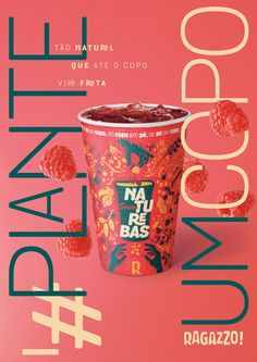 Ragazzo Integrated Advert By PPM: Naturebas Juices. So Natural That Even the Cups Become Fruit. Food Graphic Design, Food Poster Design, Creative Poster Design, Menu Design, Food Design, Wine Packaging, Packaging Design, Food Branding, Stationary Design