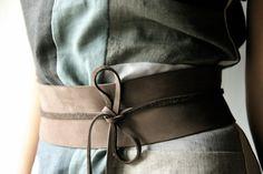Obi Belt Brown Leather wide wrap waist belt for women ~ I love obi belts. I have a collection of silk ones.
