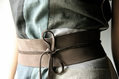 Obi Belt Brown Leather wide wrap waist belt for women ~ I love obi belts. I have a collection of silk ones.