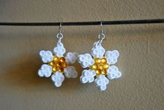 Daisy Kandi Perler Bead Rave Earrings with by electricbonesS