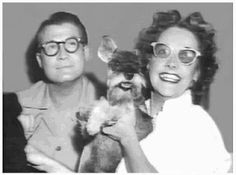 Superman George Reeves w/ Toni Mannix and Mini Schnauzer