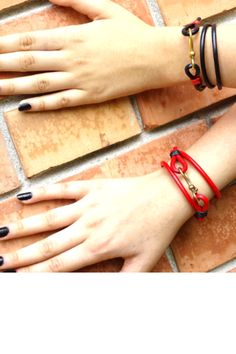 Red and black! Super charging, loving, glamorous! Sophisticated simplicity. Inspired by love and fire, these exquisite leather bracelets brings a feel of life. Your piece of heaven! Great to wear on special occasions, as well as a part of your daily outfit. Handmade. EU genuine leather cord, tied up with a gold plated hook clasp. Zamak, free of Lead, AZO's and carcinogenic chemicals. Christmas Gifts For Her, Red Christmas, Leather Bracelets, Leather Cord, Daily Outfit, Lady In Red, Heaven, Fire, Inspired