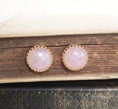 Rose Quartz Earrings Gold Stud Post Pink Gemstone Precious Stone Jewelry Simple Classic Modern Victorian Vintage Style Elegant Birthstone
