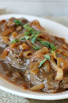 Hamburger Steak with Caramelized Onions and Brown Gravy #Recipe
