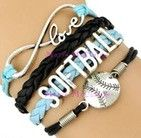 Softball Bracelet - Black/Baby Blue