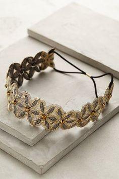 bridal jewelry, bride, alternative bride, eclectic, elopement Anthropologie Winter Daisy Headband