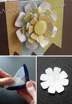 layered flower via corner rounder. Think pattern paper scraps.