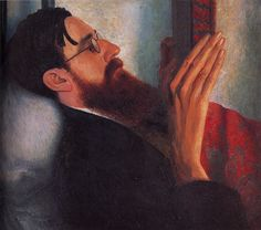 Giles Lytton Strachey (1 March 1880 – 21 Jan 1932): British writer & critic. A founding member of the Bloomsbury Group; author of Eminent Victorians. Best known for establishing new form of biography in which psychological insight & sympathy are combined w/ irreverence & wit. His 1921 biography Queen Victoria awarded James Tait Black Memorial Prize. ~Painting Portrait of Lytton Strachey [1916]  by Dora Carrington (1893-1932).
