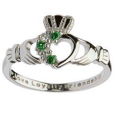 Silver Stone Set Ladies Cladagh Ring