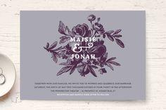 """""""Love in Bloom"""" - Floral & Botanical, Rustic Wedding Invitations in Kraft by R studio."""