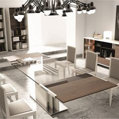 modern dining table with square glass top