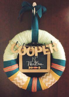 Baby boy or girl yarn, ribbon hospital wreath with chalkboard, nursery decor, chevron, arrow